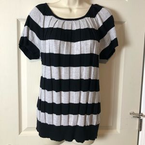 Joseph A. Grey & Black Striped Ribbed Sweater Top